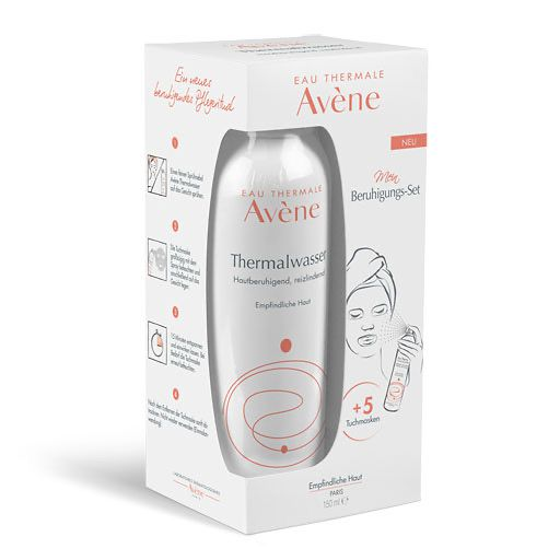 AVENE Thermalwasser Spray 150ml+5 Tuchmasken Set